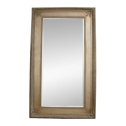 Bassett Mirror - Silver Leaf Beveled Rectangle Floor Mirror - Silver Leaf with Bevel - Rectangle - Leaner. Measures: 54 in. W x 96 in. H. Weight: 118 lbs