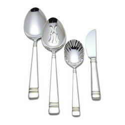 Reed & Barton - Luxury Longwood 4 Piece Hostess Set - Serve your lavish meal with our high quality brand Reed And Barton 18/10 stainless steel hostess set from the Luxury Collection. A contemporary design which offers classic simplicity and features a traditional triple-band detail and is continental in size. Includes a tablespoon, pierced tablespoon, sugar spoon and butter serving knife.