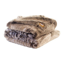 Chinchilla Faux Fur Throw Blanket with Double Sided Frosted-Clove Faux Fur