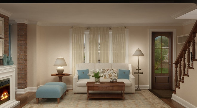 Traditional Living Room by Marie Burgos Design