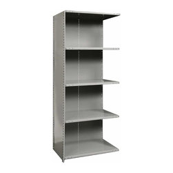 Hallowell - 87 in. High 5-Tier Medium-Duty Closed Utility Shelf - Adder (48 in. W x 18 in. D - Depth: 48 in. W x 18 in. D x 87 in. H. Expand your storage space quickly and easily with this medium duty adder style utility shelf, designed to link to an existing shelf to expand your unit. Made of cold rolled steel in gray finish, the closed shelf has a solid back and side for added strength and stability. Includes 1 beaded front post, 2 angle back posts, 1 back panel and 1 side panel. Great addition to Hi-Tech medium-duty closed shelving starter unit. 5 Adjustable shelves. Fabricated from cold rolled steel. Welds are spaced 3 in. on center to provide maximum strength. Sides are triple flanged to form a channel. All 4 corners are lapped and resistance welded to provide a rigid corner and add extra strength to the shelf. Tubular front edge is designed to protect against impact loads. 48 in. W x 12 in. D x 87 in. H. 48 in. W x 18 in. D x 87 in. H. 48 in. W x 24 in. D x 87 in. H. Assembly required. 1-Year warranty