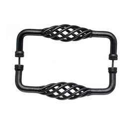 """Top Knobs - Birdcage Back to BackDoor Pull - Pewter - Length - 8 13/16"""", Width - 1 1/2"""", Projection - 2 3/4"""", Center to Center - 8"""", Base Diameter - 5/8"""""""