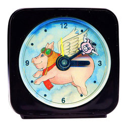 "Flying Pig Alarm Clock - Our Flying Pig alarm clock can't help but make you smile. A smaller pig flies around the larger one as it counts the seconds. This 2.25"" square alarm clock comes in a gift box and includes a free battery. Made in the USA. (Be sure to look for our Flying Pig wall clock, night light and magnets, too!)"