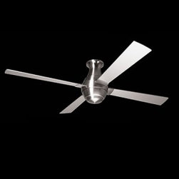 """Modern Fan - Gusto Hugger Ceiling Fan -  Product description:  The Gusto Hugger incorporates a series of stepped transitions from the top and bottom to it, s widest band at the center. Symmetry, balance, and continuity come to mind when describing this design. As with most Rezek designs, the Gusto is an investigation into the relationship of simple geometries. The result is a fan that is interesting but not distracting, unique but familiar.  Gusto is made of die-cast aluminum and offered in either a gloss white powder coat or bright nickel plated finish. The blades are a plywood laminate with a gloss white coating or metallic aluminum paint, choose 56"""" or 46"""" blade span (overall diameter). The optional light kit provides ambient lighting in your choice of halogen or compact fluorescent lamping.        Details:                                Manufacturer:                            Modern fan Comapany                                                            Designer:                            Ron Rezek                                                 Made in:                            USA                                                Dimensions:                            Height: 14"""" (35.5 cm) Blades are 46"""" (116.8 cm) or 56"""" (142.2 cm)                                                Light bulb::                            1 X 75W G9 Halogen or              1 X 26W GU24 CFL Fluorescent                                                Material:                                                                                                                        metal, plywood"""