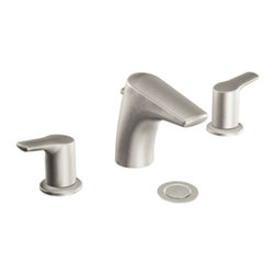 """Moen - Moen T6820BN Brushed Nickel Bath Sink Faucet Trim Two Lever Handle 8""""-16"""" Center - Moen T6820BN is part of the Method Bath collection. Moen T6820BN has a Brushed Nickel finish. Moen T6820BN two handle widespread lavatory faucet mounts in a 3-hole 8"""" - 16"""" Center sink, 3 1/2"""" long and 5"""" high spout and a full 3 1/2"""" from deck to aerator. Moen T6820BN two handle widespread trim requires Moen's 9000 or 69000 series valve to make this faucet complete. Valve sold separately. Moen T6820BN is part of the Method collection with clean lines and a simple profile that contributes to the sleek, uncluttered look of a contemporary home. Moen T6820BN two Lever handle provides ease of operation. This model features a laminar flow pattern for dramatic water presentation and flow is limited to 1.5 GPM max. Moen T6820BN is approved by ADA. Brushed Nickel has a Lifeshine finish guarantee from Moen and provides style and durability. Moen T6820BN metal lever handle meets all requirements of ADA CSA B125.1, ASME A112.18.1, NSF 61/9. Proposition 6"""". Lifetime limited Warranty. WaterSense certified."""