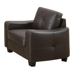 Coaster - Coaster Jasmine Leather Club Chair in Dark Brown - Coaster - Club Chairs - 502733 - This leather chair will make a wonderful addition to your living room or den. Its contemporary shape enhances any room with its big, plush back cushion and box seat cushion. A stitched design adorns the back cushion, as well as the outsides of the square track arms. The slightly flared design creates an inviting feel, and tapered wooden block feet support this chair. Pair with the coordinating sofa and love seat for a lovely room setting.