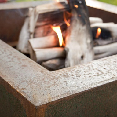 """Fire Pits - Great for Fall and Winter - The Bentintoshape 38"""" Square Fire Pit is constructed with 11 Gauge Cor-Ten Steel for maximum durability and rustic antique appearance. Cor-Ten, also known as Weathering Steel, is a steel alloy which was developed to eliminate the need for painting and forms a stable rust-like appearance when exposed to the weather. The overall dimensions of this Fire Pit are 38"""" square x 20"""" tall. The bowl dimensions are 28"""" square x 14"""" deep. The fire pit has a clean out vent at the bottom of the bowl."""