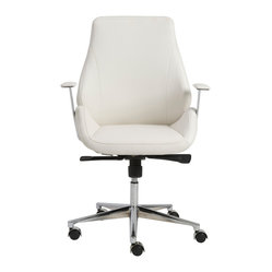 Bergen Low Back Office Chair-Wht/Chrm - Leatherette seat and back over foamLaminated wood frameSynchronous mechanism with four locking positionsChromed aluminum basePU casters with stainless steel hoodBIFMA approved