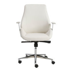 Eurostyle - Bergen Low-Back Office Chair, White/Chrome - Leatherette seat and back over foam