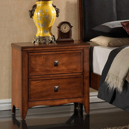 New Spec - New Spec Auckland 2 Drawer Night Stand - Antique Oak - 517005BN - Shop for Nightstands from Hayneedle.com! Pyramid shaped knobs of dark metal make the New Spec Auckland 2 Drawer Night Stand - Antique Oak a distinguished choice. This handy bedside companion is crafted of solid wood in a rich Antique Oak finish. Two spacious drawers open on smooth metal glides and have a soft-close feature. A gently curved apron and flared legs connect it with the rest of the Auckland Bedroom Collection.About New Spec Inc.Founded in 1990 New Spec is a US-based company built on the belief that great business relations with both retailers and customers alike is of paramount importance. Offering an array of furniture and case goods for a variety of rooms and decor preferences New Spec continues to strive for excellence by delivering on the high expectations and standards they have set for themselves so that they may continue to provide the outstanding quality and service their customers have come to expect.