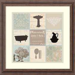 Amanti Art - Paula Scaletta 'Bath Collage II' Framed Art Print 18 x 18-inch - Complement your bathroom decor with Bath Collage II, a charming framed art print by Paula Scaletta.