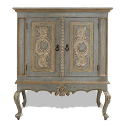 Koenig Collection - Old World Munich Lowboy Armoire, Pale Turquoise Distressed With Cream And Gold - Old World Munich Lowboy Armoire, Pale Turquoise Distressed With Cream Undertones And Golden Accents