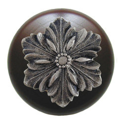 """Inviting Home - Opulent Flower Walnut Wood Knob (satin nickel) - Opulent Flower Walnut Wood Knob with hand-cast satin nickel insert; 1-1/2"""" diameter Product Specification: Made in the USA. Fine-art foundry hand-pours and hand finished hardware knobs and pulls using Old World methods. Lifetime guaranteed against flaws in craftsmanship. Exceptional clarity of details and depth of relief. All knobs and pulls are hand cast from solid fine pewter or solid bronze. The term antique refers to special methods of treating metal so there is contrast between relief and recessed areas. Knobs and Pulls are lacquered to protect the finish. Alternate finishes are available. Detailed Description: The Opulent Scroll pulls add an amazing focus to any drawers or cabinets - it will make them look regal and majestic. The absolute perfect place for these pulls to be used is in the dining room on your china closet. They are great pulls to use if you are trying to punch up an antique piece of furniture or cabinet. You should consider using the Opulent Scroll pulls in combination with the Opulent Flower knobs or wood knobs with flower."""