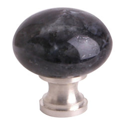 Q.M.I. - Decorative Round Knob in Black (Set of 10) - Includes mounting screws. Decorative. Satin nickel accents. Easy to install. Limited lifetime warranty. Made from granite. 1.25 in. Dia. x 1 in. HAdd the finishing touches to your new vanity or cabinets or instantly update the look of your room with this hardware. Our cabinet knobs beautifully compliment any homes decor.
