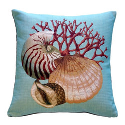 Pillow Decor Ltd. - Coral and Shells Blue Nautical Throw Pillow - Play a sophisticated shell game in your favorite setting. The finery of French tapestry in a beachcomber theme is such a refreshing touch. Put it to your ear and you can almost hear the ocean!