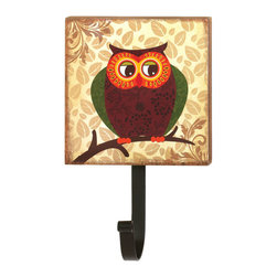 KOOLEKOO - Retro Owl Wall Hook - Functional decor can be a real hoot, especially with this darling wall-mounted hook. The metal hook can hold your bag, coat or purse and is topped with a wooden plaque decorated with a cute retro-style owl.