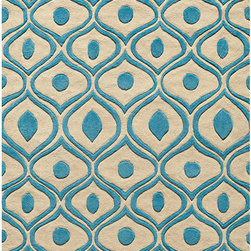 None - Hand Tufted Modern Waves Teal Polyester Rug (8' x 10') - Make beautiful waves with this super stylish contemporary polyester rug. Featuring a lovely undulating abstract pattern in teal against ivory, this elegant and luxurious rug has been hand-carved to provide a unique depth and texture.