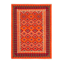 Jaipur Rugs - Flat Weave Tribal Pattern Multi Color Wool Handmade Rug - AT06, 8x10 - A brilliant mix of tribal and adorable, this rug is just the perfect thing to brighten your home. The corals, the grays, the maroons — all combine into a dizzying confection of gorgeous color and pattern. Handmade in India from pure wool, it's classic and versatile, growing with your style and brightening your days for years to come.