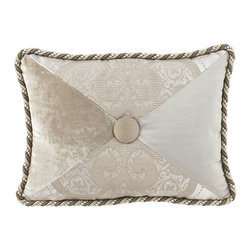 """Dian Austin Couture Home - Pieced Pillow with Button Center 12"""" x 16"""" - PEWTER (12X16) - Dian Austin Couture HomePieced Pillow with Button Center 12"""" x 16""""DetailsMade of polyester/cotton/viscose damask silk and polyester velvet.Dry clean.12"""" x 16"""".Handcrafted in the USA of imported materials.Designer About Dian Austin Couture Home:Taking inspiration from fashion's most famous houses of haute couture the Dian Austin Couture Home collection features luxurious bed linens and window treatments with a high level of attention to detail. Acclaimed home designer Dian Austin introduced the collection in 2006 and seeks out extraordinary textiles from around the world crafting each piece with local California artisans."""