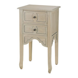 Currey & Company - Dominic Nightstand - Our Dominic Nightstand stands on slim, tapered legs and is finished in Silver Wash Antique. Its top is wide enough for stacks of bedtime reading, while the two drawers are perfect for storing knickknacks. For everyday care, dust with a clean, dry cloth. Wipe spills immediately with soft dry cloth. Always use coasters or mats. Never place cups, glasses or anything hot directly on the surface. This could cause discoloration.