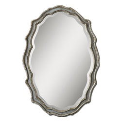 "Grace Feyock - Grace Feyock 12832 Dorgali Oval Mirror - This curvaceous mirror features a frame finished in aged, slate blue accented with antiqued silver leaf details and a light gray wash. Mirror has a generous 1 1/4"" bevel. May be hung horizontal or vertical."
