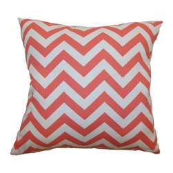 """The Pillow Collection - Xayabury Zigzag Pillow Coral White 20"""" x 20"""" - Bring a fun look to your room with this eccentric and bold zigzag throw pillow. This accent pillow comes with a graphic print pattern in a coral and white color palette. This decor pillow adds depth and definition to your space. Layer this square pillow with other patterns and colors. This 20"""" pillow is made from 100% soft cotton fabric. Hidden zipper closure for easy cover removal.  Knife edge finish on all four sides.  Reversible pillow with the same fabric on the back side.  Spot cleaning suggested."""
