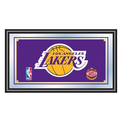 Trademark Global - Los Angeles Lakers NBA Framed Logo Mirror - Officially Licensed Full Color Artwork. Mirrored Glass Accents Team Logo. 1.25 Inch Black Wrapped Wood Frame. Includes Mounted Saw Tooth Hanger. Measures .75 (D) x 27 (W) x 15 (H) InchesReflect on the memories of your favorite team with this officially licensed framed logo mirror. Authentic artwork is preserved under mirrored glass then bound by a black wrapped wood frame.  Post up your passion for the game while assisting your room's appearance with this professional grade logo mirror.