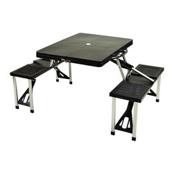 "Picnic at Ascot - Picnic Table Set, Black - Attractive folding plastic picnic table with built in seating for four. Constructed with high strength aluminum alloy frame. Very easy set up, no tools required. Sturdy & light weight. Carry handle built into table. Table top is  33.5"" x 25.5"".  Closed size is 33.5"" wide x 4"" deep x 16"" high.  Seats have 240 Lb weight capacity. Weights 15.6 Lbs."