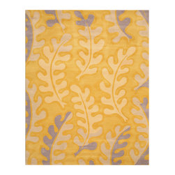 EORC - EORC IE12GD8X10 8' x 10' Area Rug - Contemporary style, abstract pattern, 0.5 inch pile height, wool rug. Gold, blue and ivory