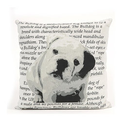 IMAX CORPORATION - Bulldog Heritage Pillow - With a bold black and white bulldog illustration, this pillow features the heritage and history of this breed in beautiful writing, sure to add a per perfect touch to any home. Find home furnishings, decor, and accessories from Posh Urban Furnishings. Beautiful, stylish furniture and decor that will brighten your home instantly. Shop modern, traditional, vintage, and world designs.