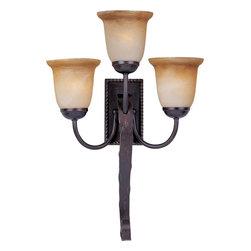 Joshua Marshal - Three Light Oil Rubbed Bronze Vintage Amber Glass Wall Light - Three Light Oil Rubbed Bronze Vintage Amber Glass Wall Light