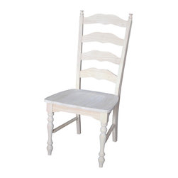 None - Unfinished Solid Parawood Maine Ladderback Chair (Set of 2) - With its butcher block surface and box seat construction,this set of Maine ladderback chairs harks back to simpler times with a classic design. Made tough with parawood construction,these chairs provide a traditional,pastoral look.