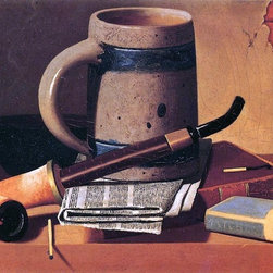 """John Frederick Peto Still Life with Pipe, Beer Stein, Newspaper Print - 18"""" x 24"""" John Frederick Peto Still Life with Pipe, Beer Stein, Newspaper, Book and Matches premium archival print reproduced to meet museum quality standards. Our museum quality archival prints are produced using high-precision print technology for a more accurate reproduction printed on high quality, heavyweight matte presentation paper with fade-resistant, archival inks. Our progressive business model allows us to offer works of art to you at the best wholesale pricing, significantly less than art gallery prices, affordable to all. This line of artwork is produced with extra white border space (if you choose to have it framed, for your framer to work with to frame properly or utilize a larger mat and/or frame).  We present a comprehensive collection of exceptional art reproductions byJohn Frederick Peto."""