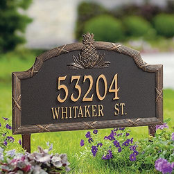 """Frontgate - Estate Pineapple Address Plaque - Frontgate - Rustproof aluminum casting. Powdercoated enamel finish that performs beautifully. Personalize with up to five 3"""" numerals on first line and seventeen 1-1/2"""" letters on second. Includes wall-mount hardware or stakes for in-ground installation. Please check for accuracy; personalized orders cannot be modified, cancelled, or returned after being placed. Our Pineapple Address Plaques welcomes guests to your home with the traditional symbol of hospitality. The finest sum of all-weather materials, this plaque will personalize your residential address for decades to come.  . . . . . Made in USA."""