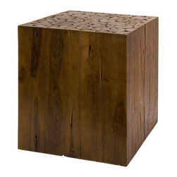 Teak Cube Table - Teak wood branches are combined and stained to complete a stunning square table. Try combining two together to form a makeshift coffee table, or using them as extra seating—these solid table blocks are great for multi-purpose use, and are easy to pair with any room.