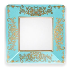 "5.5"" Pembroke Appetizer Plate - Gold Leaf Border Square Plate"