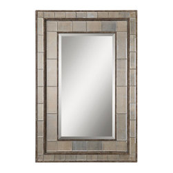 Matthew Williams - Matthew Williams Almont Transitional Rectangular Mirror X-99080 - Distressed rust bronze finish with silver champagne undertones and antiqued beveled mirror inlays. Mirror is beveled. May be hung either horizontal or vertical. Matching console is item UM-24234.