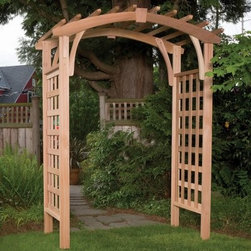 Arboria Madrona 7.5 ft. Cedar Pergola Arbor - The Arboria Madrona 7.5 ft. Cedar Pergola Arbor is crafted of Western red cedar so it's naturally rot and insect resistant as well as practically maintenance free. To maintain the rich cedar color simply apply an oil stain for added UV protection. The arbor comes complete with two side panels two header boards eight cap boards four braces four anchor stakes and an assembly hardware kit. Made in the USA. About Arboria ProductsArboria products are designed and manufactured by LWO Corporation of Portland Oregon. Since its inception in 1980 LWO Corporation has developed a nationwide reputation as a designer and manufacturer of innovative high-quality wood products for the home and garden. Arboria is proud to feature distinctive high quality sustainable furniture and garden structures made in the U.S.A. from natural and renewable Western Red Cedar. In addition Arboria offers a complete line of imported casual furniture crafted from superior grade hardwood.