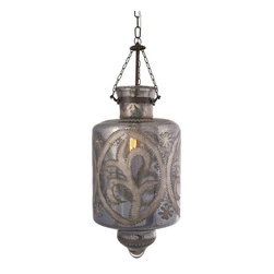 """Badan Etched Glass Pendant Light - Etched smoky gray mercury glass and iron chain add a strikingly beautiful appearance to the Cadel pendant light. This hard wired pendant light comes complete with a ceiling cap, cord length of 58.5"""" and holds 60 Watt Type B or 13 Watt CFL bulb."""