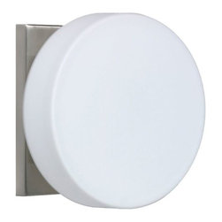 Besa Lighting - Ciro 773807 Wall Sconce by Besa Lighting - The Besa Lighting Ciro 773807 Wall Sconce offers bright, even lighting for every space from the bathroom to the bedroom and hallway. Its rounded shape softens its overall contemporary appearance, the White of the handmade Opal glass shade contrasting nicely with either a Satin Nickel or Bronze finish. Besa Lighting Company, located in Ohio, uses only glass handcrafted in Europe. Using traditional methods passed down from generation to generation, every hand-blown glass lighting system Besa Lighting Company produces is an original.
