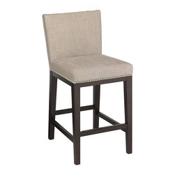 "Sunpan - Sunpan Vintage 26"" Linen Counter Stool - With an espresso-colored finish, this counter stool from Sunpan features a vintage look. A neutral polyester/cotton fabric and black metal footrest complete this barstool."