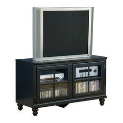 Hillsdale Furniture - Hillsdale Grand Bay 48 Inch Entertainment Console in Warm Brown - Transitionally designed to blend easily into both contemporary and traditional decor, the Grand Bay entertainment console is available in two finishes to fit your needs. Available in either black or pine for added versatility across many decor styles. It is constructed of solid wood with veneer and the back features knockouts for easy cable management. The console offers two glass front cabinets with adjustable shelves for storing your electronics, game systems, DVDs and CDs.