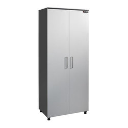 Black & Decker - Black & Decker 31.25 in. Storage Cabinet with Adjustable Shelves - Silver - BG10 - Shop for Cabinets from Hayneedle.com! The Black & Decker 31.25 in. Storage Cabinet with Adjustable Shelves - Silver in charcoal stipple and silver metallic finish is a great way to maintain the quality of your best power tools and supplies. This narrow storage cabinet features flat panel doors with a diamond plate door design and adjustable European hinges. Its spacious interior houses 5 shelves 3 of which are adjustable for a fully customizable storage unit that will save untold amounts of space in your workshop or garage. Measures 31.25W x 19.625D x 75.375H inches.Black and DeckerA household name with the reputation for quality and innovation Black & Decker is a leader in small home appliances and number one in a wide range of products for the home. From the kitchen to the garage and beyond Black & Decker is innovating the products that you'll use today and tomorrow.