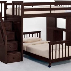 NE Kids - Schoolhouse Stairway Loft Bed - Chocolate Multicolor - FUB406 - Shop for Bunk Beds from Hayneedle.com! The Schoolhouse Stairway Loft Bed - Chocolate offers both maximum safety and unique utility making this a fine choice for your child's bedroom. This piece is artfully constructed from trusty hardwood and the deep chocolate brown finish imbues the brawn with elegance and beauty. This bed features three integrated drawers and a rolling toy box as well as interchangeable desk and stair ends making for one fantastically functional addition to the room. The desk may be installed facing outward or inward based on your child's preference and a guardrail will ever be a protector from falls in the night. Optional are a twin or full lower bed making this bed sibling-friendly. Dimensions: Loft: 99.5L x 42W x 67H inches Twin lower bed: 80L x 42.25W x 25.5H inches Full lower bed: 80L x 58.3W x 25.5H inches We take your family's safety seriously. That's why all of our bunk beds come with a bunkie board slat pack or metal grid support system. These provide complete mattress support and secure the mattress within the bunk bed frame. Please note: CPSC recommends the tops of the guardrails must be no less than 5 inches above the top of the mattress and that top bunks not be used for children under 6 years of age. About New Energy KidsNE Kids is a company with a mission: to make and import truly unique furniture for your child. For over thirty years they've been accomplishing this mission with flying colors one room at a time. Not only will these products look fabulous they will provide perfect safety for your children by adhering to the highest standards set by the American Society for Testing and Material and the Consumer Products Safety Commission. Your kids are in the best of hands and everyone will appreciate these high-quality one-of-a-kind pieces for years to come.