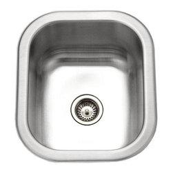 Houzer - Houzer Club Undermount Small Bar/Prep Sink, Satin (CS-1307-1) - Houzer CS-1307-1 Club Undermount Small Bar/Prep Sink, Satin