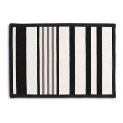 Black, Gray & White Stripe Tailored Placemat Set - Class up your table's act with a set of Tailored Placemats finished with a contemporary contrast border. So pretty you'll want to leave them out well beyond dinner time! We love it in this white, black & gray outdoor stripe that's just hankering for those wide open spaces.