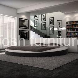 TOSH Furniture - Modern Round Uhholstered Platform Bed - TOS-INN-DIVALLI - Contemporary modern design