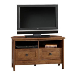 Sauder - August Hill 39 in. Corner TV Stand in Oiled O - 2 Drawers. Divided shelving holds audio and video equipment. Hidden storage behind simulated drawer fronts and doors. Made of wood. Assembly required. Will hold TV up to 95 lbs. and 39.25 in. width. 39 in. W x 20 in. D x 24 in. H