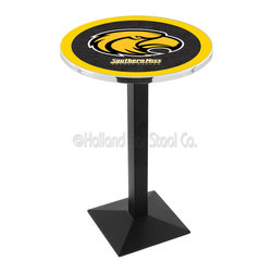 Holland Bar Stool - Holland Bar Stool L217 - Black Wrinkle Southern Miss Pub Table - L217 - Black Wrinkle Southern Miss Pub Table belongs to College Collection by Holland Bar Stool Made for the ultimate sports fan, impress your buddies with this knockout from Holland Bar Stool. This L217 Southern Miss table with square base provides a commercial quality piece to for your Man Cave. You can't find a higher quality logo table on the market. The plating grade steel used to build the frame ensures it will withstand the abuse of the rowdiest of friends for years to come. The structure is powder-coated black wrinkle to ensure a rich, sleek, long lasting finish. If you're finishing your bar or game room, do it right with a table from Holland Bar Stool. Pub Table (1)
