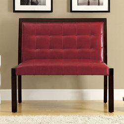 Monarch - Burgundy Leather-Look Cappuccino Wood Bench - Spice up your home decor with this wood and leather bench. Featuring a padded back and foam filling,this bench offers maximum comfort. This product has a wood frame with a cappucino finish. The tufted detailing offers an elegant and stylish look.
